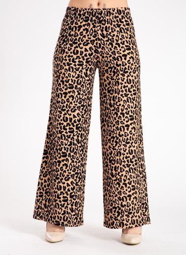 Madame Sare  Kadın Leopar Desen Salaş Pantolon Leopar